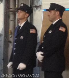 Firefighters: Michael Yakzitis and Dennis Montaruli, Jr. waiting for the ceremony to start.  Photo credit: D. Montaruli, Sr.