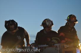 Lt. Andrew Lamberti and Firefighter Joe Kimmel in Tarrytown's Tower Ladder.  Photo credit: Lt. Dowd