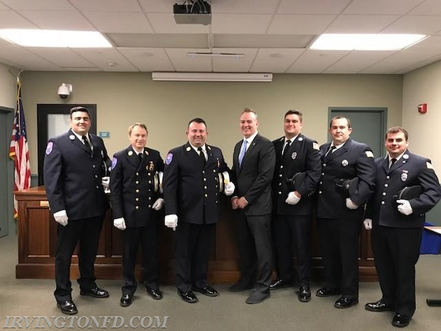 Officers of the Irvington Fire Department and Mayor Brian Smith